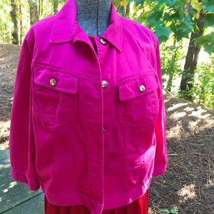 Chaps jacket size Large Fuchsia pink